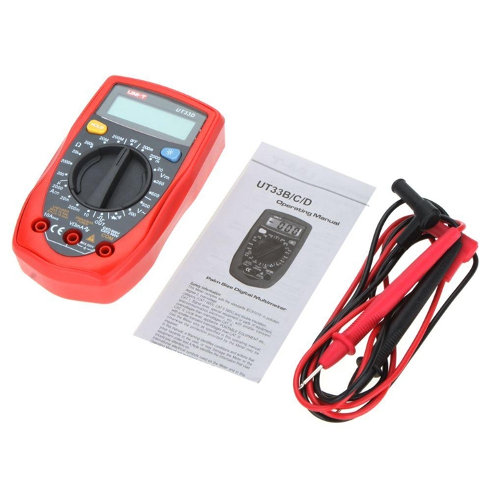 UNI-T UT-33D Digital Multimeter, Palm Size Digital Electrical Multi-Meters 2000µA-10A