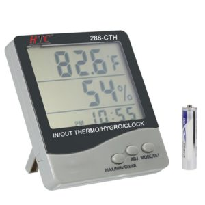 HTC Instrument 288-CTH Digital Hygro/ Thermometer/ Temperature Meter With Clock Large 3 Line LCD Display