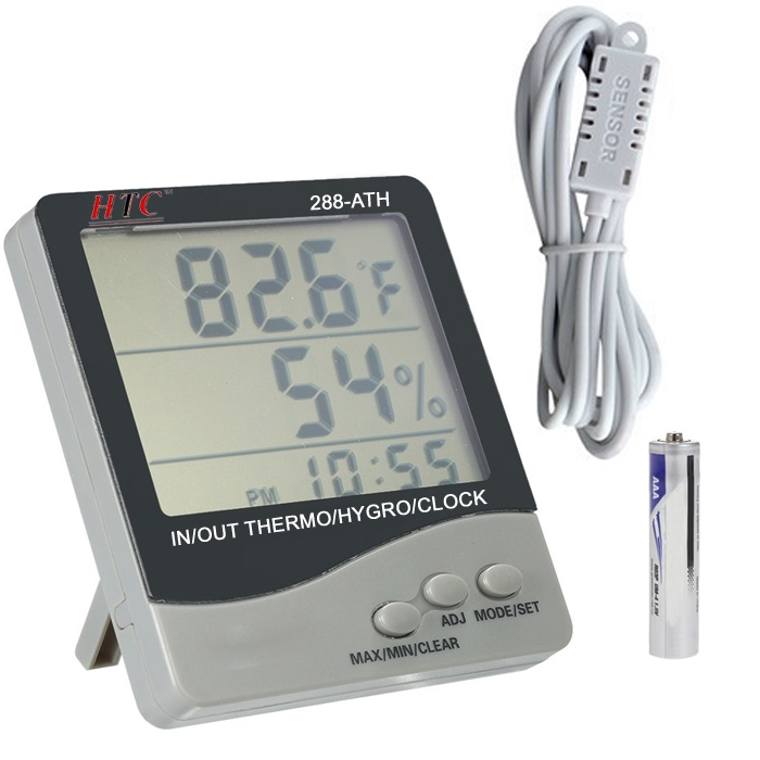 HTC Instrument 288-ATH Digital Hygro Thermometer Temperature Meter With Clock Large 3 Line LCD Display & 3 Meters Sensor Probe