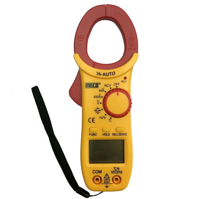 Meco 36-Auto Digital AC/DC Clamp Meter/ Multimeter/ Temperature Meter, Jaw opening-25mm, 600 A 600 V (4000 Counts)