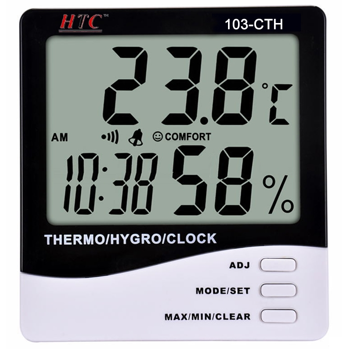 HTC Instrument 103-CTH Digital Hygro/ Thermometer/ Temperature Meter With Clock Large 2 Line LCD Display