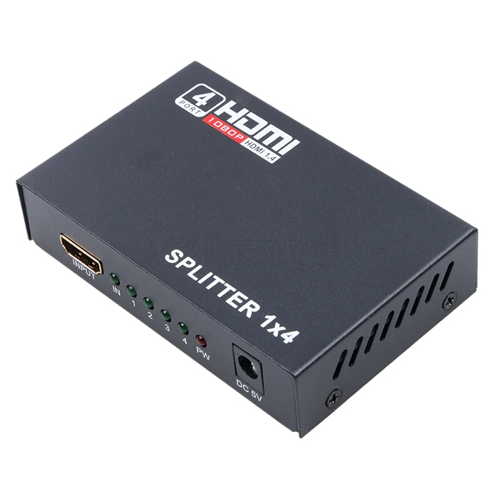 Ultra HD HDMI Splitter 1.4V, 1 Input 4 Output HDMI Port Splitter, Support 4k/ 3D/ 1080P Video, HDMI Switcher Repeater Output Amplifier