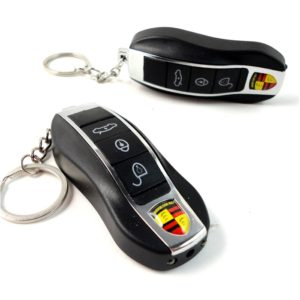 4 in 1 Porsche Shaped Electric Shock Keychain, Fake Remote Control Keychain for Car/ Bike Shock Key Rain (LED Torch + Laser Light + Shock + Key Rain)