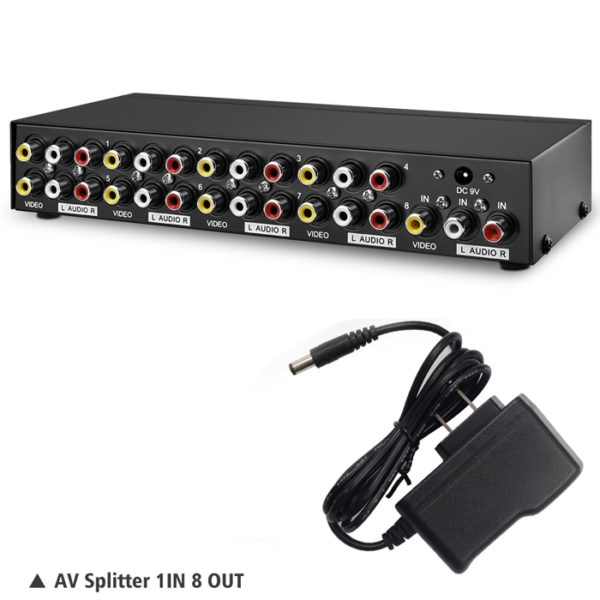 AV Splitter HDTV DVD RCA Video Splitter box 1 to 8 out 3 RCA distributor 1 in 8 RCA Audio video adapter AV no switch