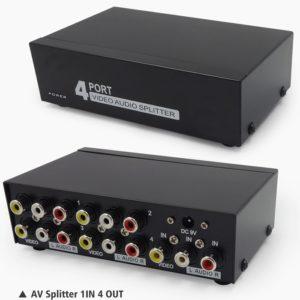 AV Splitter HDTV DVD RCA Video Splitter box 1 to 4 out 3 RCA distributor 1 in 4 RCA Audio video adapter AV no switch