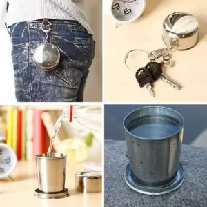 Collapsible Stainless Steel Pocket Drinking Glass/ Pocket Cup for Outdoor Travel Camping, Folding Collapsible Cup Metal Telescopic Keychain 75ml