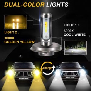 H4 Extremely Bright Dual Color White/ Yellow (6000K/ 3000K) 40W Led Headlight Kit 8000LM, M2 Anti-Flicker Led Fog Lamp Bulbs, DC 12~36 Volt