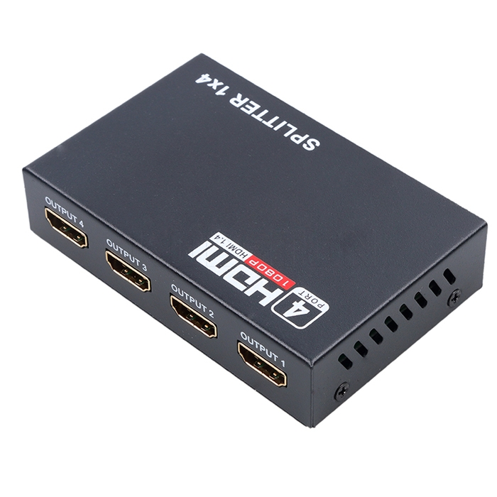 Ultra HD HDMI Splitter 1 4V, 1 Input 4 Output HDMI Port Splitter, Support  4K/ 3D/ 1080P Video, HDMI Switcher Repeater Output Amplifier