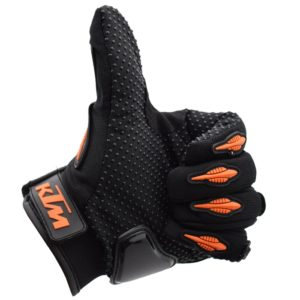 KTM Gloves for Bike/ Motorcycle/ Cycle Riding/ Outdoor Sports Racing/ Camping Full Finger, Orange & Black - XL