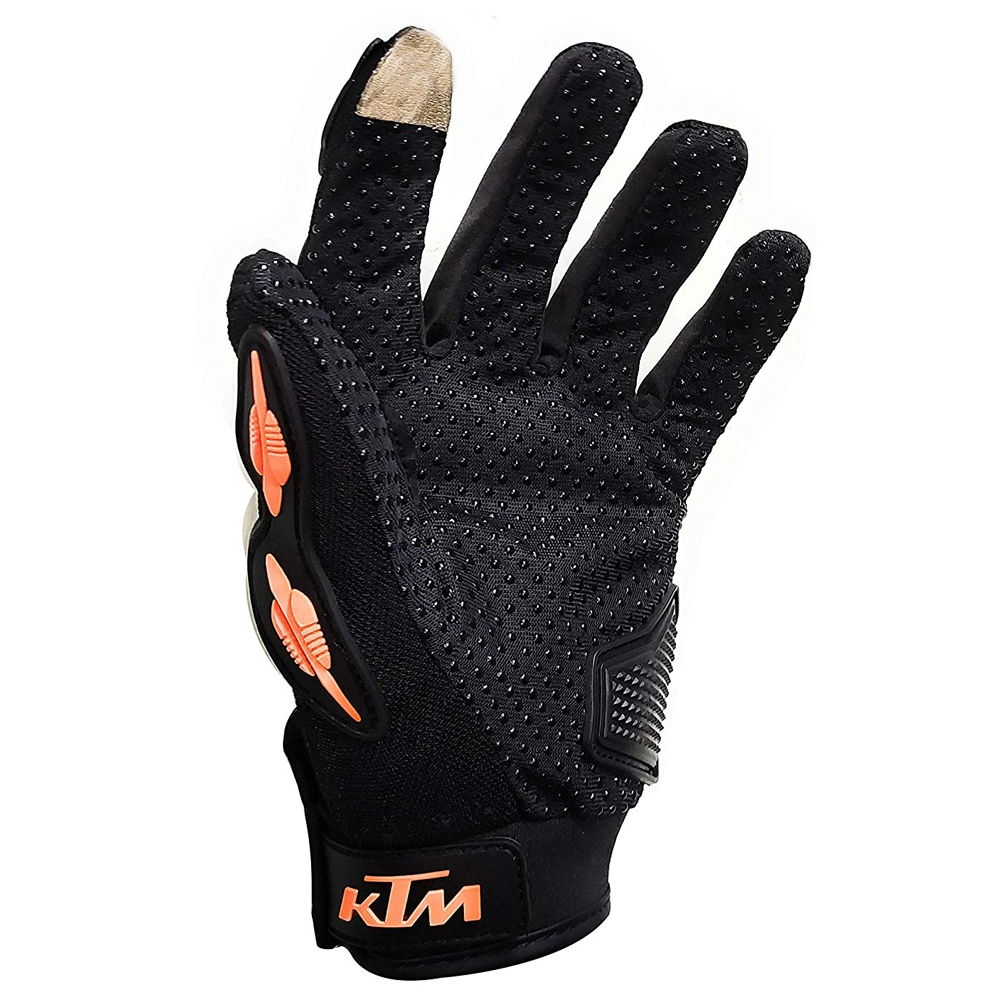 KTM Gloves with Smartphone Touch Sensitive, for Bike/ Motorcycle/ Cycle Riding/ Outdoor Sports Racing/ Camping Full Finger, Orange & Black