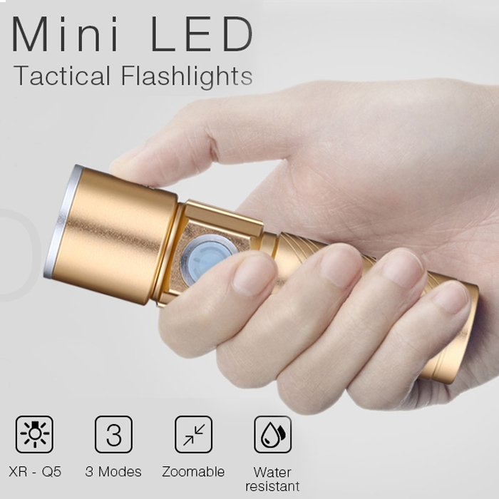Mini Zoom 3 Modes USB Rechargeable Ultra Bright LED Flashlights with Adjustable Focus Light for Camping Hiking Emergency - XR-Q5