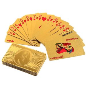 24K Gold Plated Standard Sized Playing Cards, Full Set of 52 Cards and 2 Joker