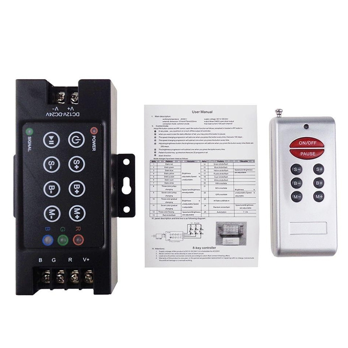 RF 8 Key Remote LED RGB Controller 30A DC 12V-24V 360W with Dimming for 5050 3528 RGB Led Strip