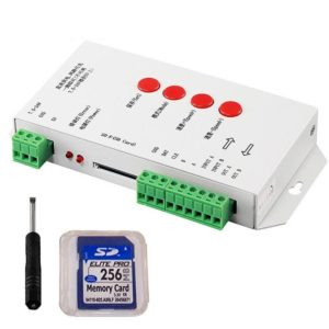 T1000s LED Pixel Controller Edit Software 2048 Pixel SD Card Controller DC 5-24V for LED Pixel Light, Support WS2811 RGB with 256MB Memory Card