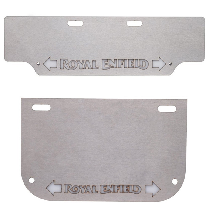 100% Stainless Steel Front & Rear Number Plate for Royal Enfield with Inbuilt Indicator & Logo DRL Light