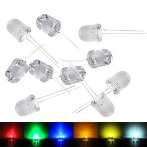Ultra Bright 10mm 0.5W Water Clear LED Bulb, 10 mm LED Bulb, Emitting Diodes Lamp, 10mm LED's for DIY Projects