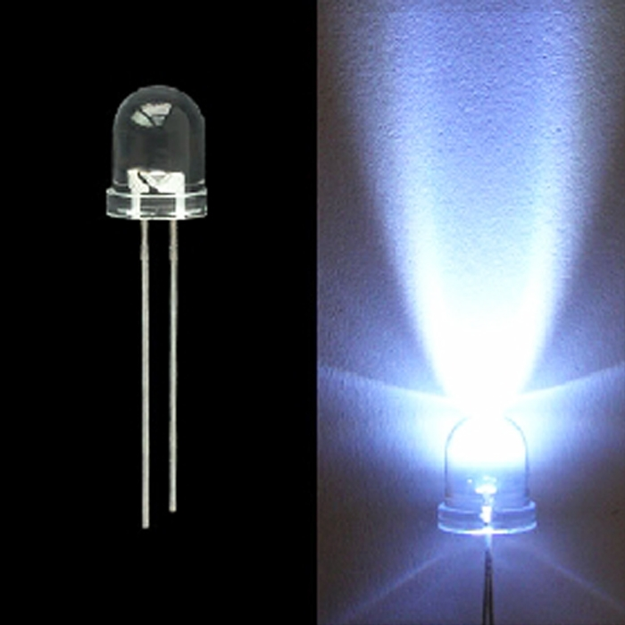 White 10mm 0.5W Water Clear LED Bulb, 10 mm LED Bulb, Emitting Diodes Lamp, 10mm LED's for DIY Projects