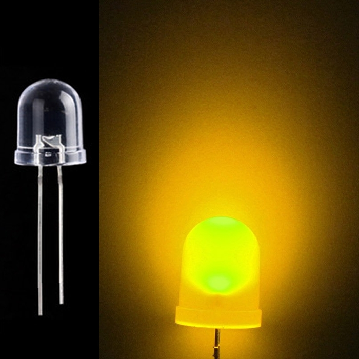 Yellow 10mm 0.5W Water Clear LED Bulb, 10 mm LED Bulb, Emitting Diodes Lamp, 10mm LED's for DIY Projects