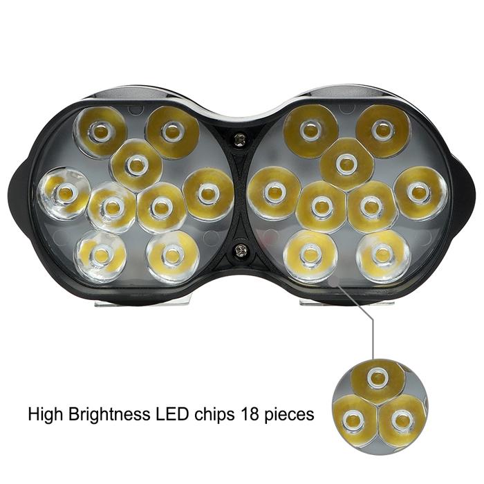 3 Light Mode 18 LED Headlight Driving Fog Spot Light Lamp Waterproof 30 W Shilon Light For Motorcycle And Cars