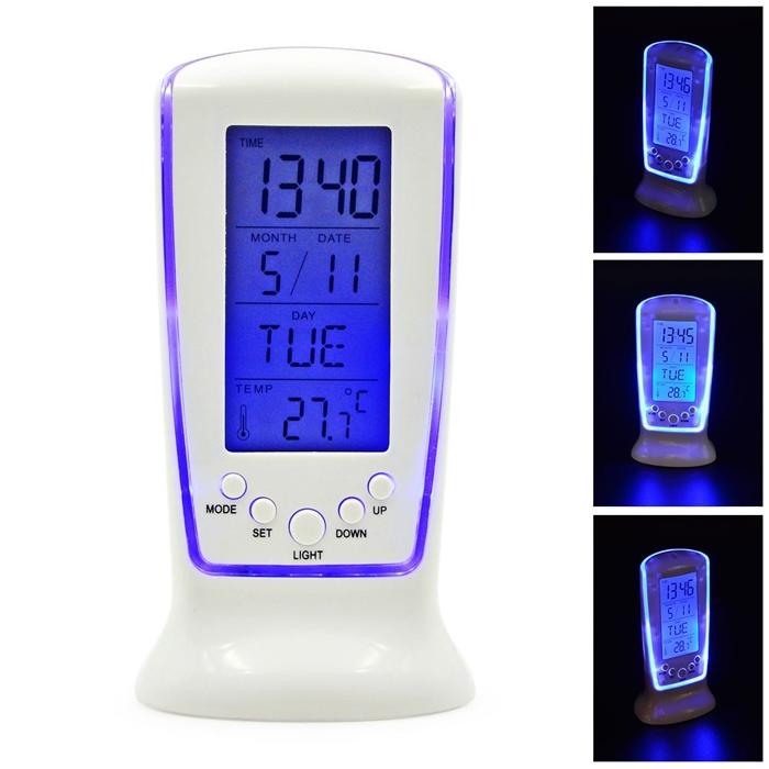 Digital Blue LED LCD Square Clock, Frozen LED Digital Clock, Despertador Desk Clock, Bedside Alarm Clock, Square Clock DS-510