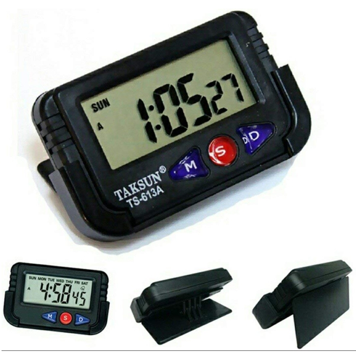 Car Dashboard Clock Office Desk Alarm Clock, Stopwatch & Calendar With Flexible Stand, TS-613A clock