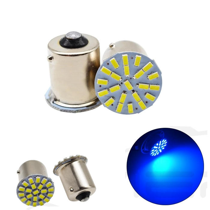 Blue 22 SMD LED Light Bulb Indicator/ Tail Break Stop/ Turn Signal Light, DC 12V LED Light For Car & Bikes, BAY15s LED Bulb