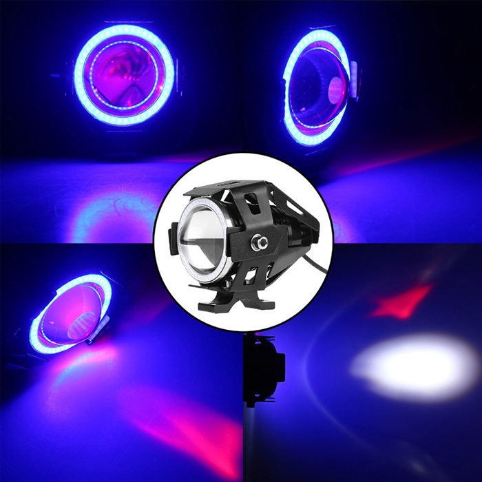 Blue Mini U7 Headlight Driving Fog Spot Lamp, 3 Mode Auxiliary Work Driving Fog Light Super Bright Lamp 3000LM, White Angle Eyes & Devil Eye