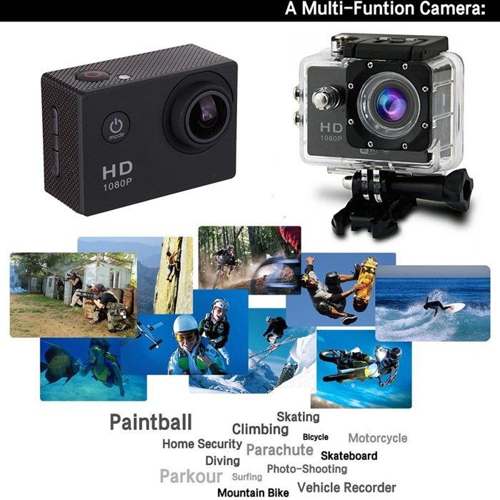 HD 1080P Sports DV Action Camera, Helmet Sports Action Camera, Waterproof Camera for Bicycle/ Car/ Bike/ Boat, Camera with Rechargeable Batteries up to 32GB SD Card