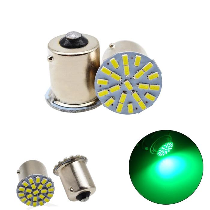 Green 22 SMD LED Light Bulb Indicator/ Tail Break Stop/ Turn Signal Light, DC 12V LED Light For Car & Bikes, BAY15s LED Bulb