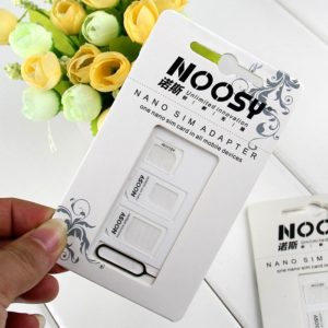 NOOSY 4 in 1 Nano SIM Card Adapters Micro SIM Card SIM Card Adapter Eject Pin for iPhone & All Mobile Phones