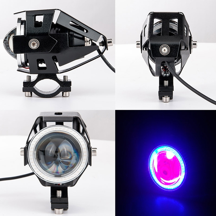 Mini U7 Headlight Driving Fog Spot Lamp, 3 Mode Auxiliary Work Driving Fog Light Super Bright Lamp 3000LM, White Angle Eyes & Devil Eye