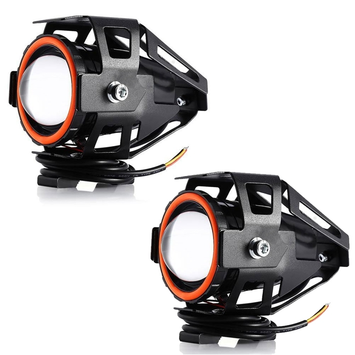 Mini U7 Headlight Driving Fog Spot Lamp, 3 Mode Auxiliary Work Driving Fog Light Super Bright Lamp 3000LM, White Angle Eyes & Devil Eye