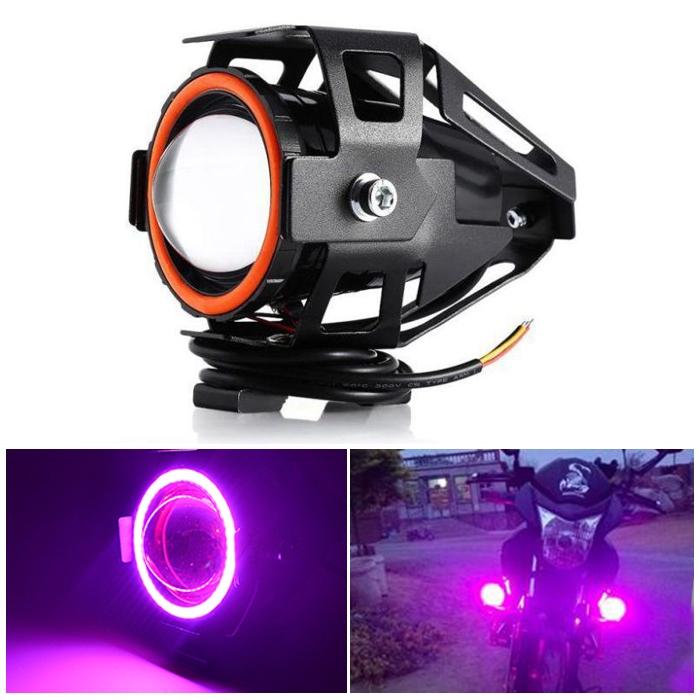 Pink Mini U7 Headlight Driving Fog Spot Lamp, 3 Mode Auxiliary Work Driving Fog Light Super Bright Lamp 3000LM, White Angle Eyes & Devil Eye