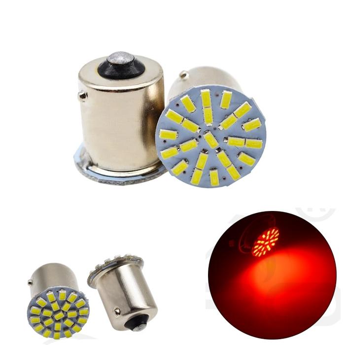 Red 22 SMD LED Light Bulb Indicator/ Tail Break Stop/ Turn Signal Light, DC 12V LED Light For Car & Bikes, BAY15s LED Bulb