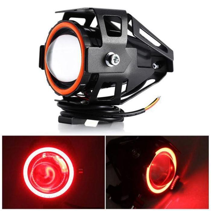 Red Mini U7 Headlight Driving Fog Spot Lamp, 3 Mode Auxiliary Work Driving Fog Light Super Bright Lamp 3000LM, White Angle Eyes & Devil Eye
