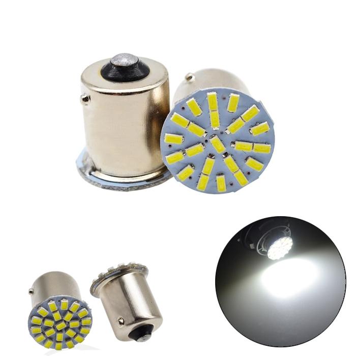 White 22 SMD LED Light Bulb Indicator/ Tail Break Stop/ Turn Signal Light, DC 12V LED Light For Car & Bikes, BAY15s LED Bulb