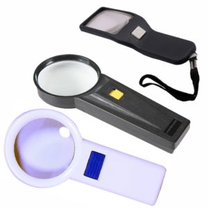 Hand Held Magnifying Glass 2.5x/ 3x/ 5x With Led Light for Jewelry, Reading, Camping, Travel, Coins, Seniors, Geology
