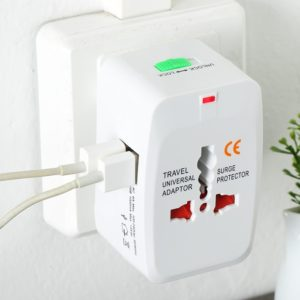 Universal Plug Adapter 2 USB Port US UK AU EU Travel International Power Adapter Plug Converter with Surge Protector 250V 10A