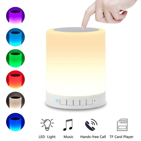 Portable Bluetooth Speaker With Smart Touch Control Lamp, Brightness & Colour Control, Touch LED Night Light Lamp, CL-671
