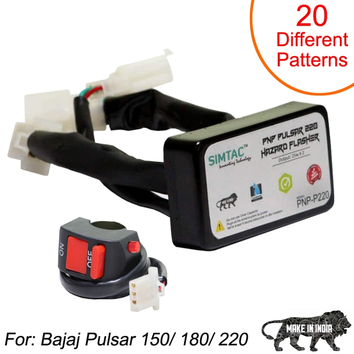 SIMTAC Hazard Flasher Module/ Adapter for Bajaj Pulsar 150/ 180/ 220, Waterproof 20 Patterns Plug & Play Hazard Flasher Module with Control Switch