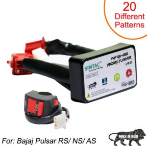 SIMTAC Hazard Flasher Module/ Adapter for Bajaj Pulsar RS/ NS/ AS, Waterproof 20 Patterns Plug & Play Hazard Flasher Module with Control Switch