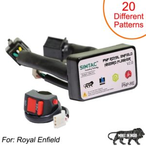 SIMTAC Hazard Flasher Module/ Adapter for Royal Enfield, Waterproof 20 Patterns Plug & Play Hazard Flasher Module with Control Switch