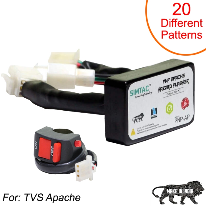 SIMTAC Hazard Flasher Module/ Adapter for TVS Apache, Waterproof 20 Patterns Plug & Play Hazard Flasher Module with Control Switch