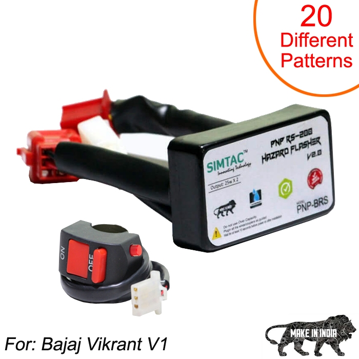 SIMTAC Hazard Flasher Module/ Adapter for Bajaj Vikrant, Waterproof 20 Patterns Plug & Play Hazard Flasher Module with Control Switch
