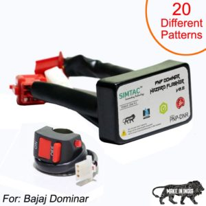 SIMTAC Hazard Flasher Module/ Adapter For Bajaj Dominar, Waterproof 20 Patterns Plug & Play Hazard Flasher Module With Control Switch