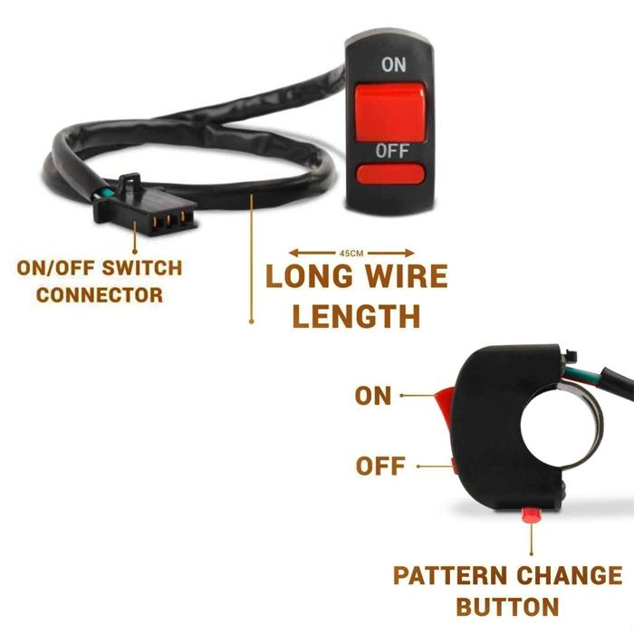 SIMTAC Hazard Flasher Module Adapter for Bajaj DOMINAR & All Bajaj Bikes, 20 Patterns Plug & Play Hazard Flasher Module with Control Switch