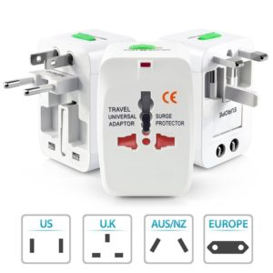 Universal Multifunction Plug Adapter US UK AU EU Travel International Power Adapter Plug Converter with Surge Protector 250V 10A