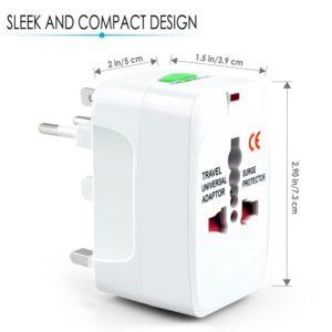Universal Multifunction Plug Adapter US UK AU EU Travel International Power Adapter Plug Converter with Surge Protector 250V 10A