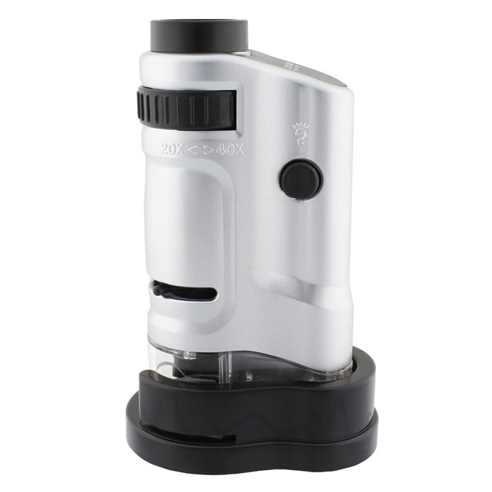 20x-40x Zoom Adjustable Microscope LED Illuminated Mini Pocket Microscope Magnifier with Scale and Base MG10081-8
