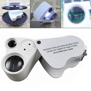 Dual Lens 30x 60x Handheld Mini Pocket Microscope Loupe Jeweler Magnifier LED Light Fantastic
